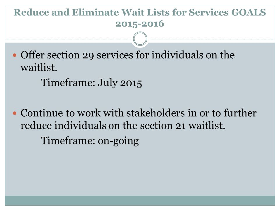 Reduce and Eliminate Wait Lists for Services GOALS 2015-2016