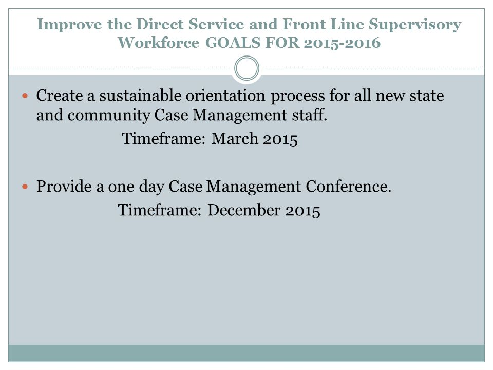 Provide a one day Case Management Conference. Timeframe: December 2015