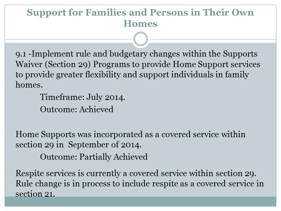 Support for Families and Persons in Their Own Homes