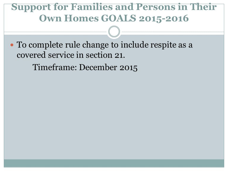 Support for Families and Persons in Their Own Homes GOALS 2015-2016