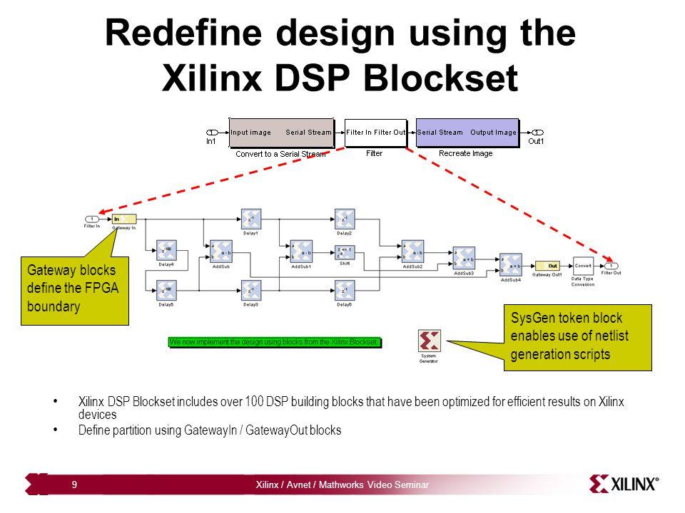 Redefine design using the Xilinx DSP Blockset