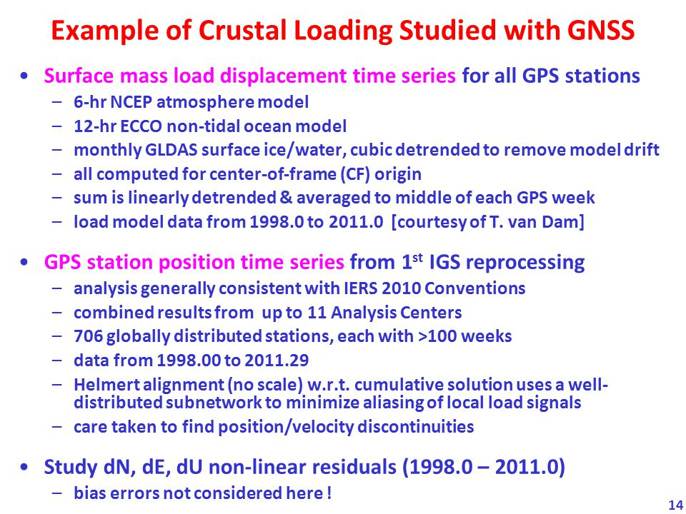 Example of Crustal Loading Studied with GNSS