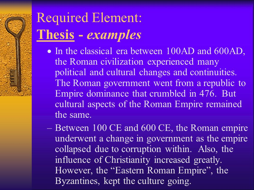 Required Element: Thesis - examples