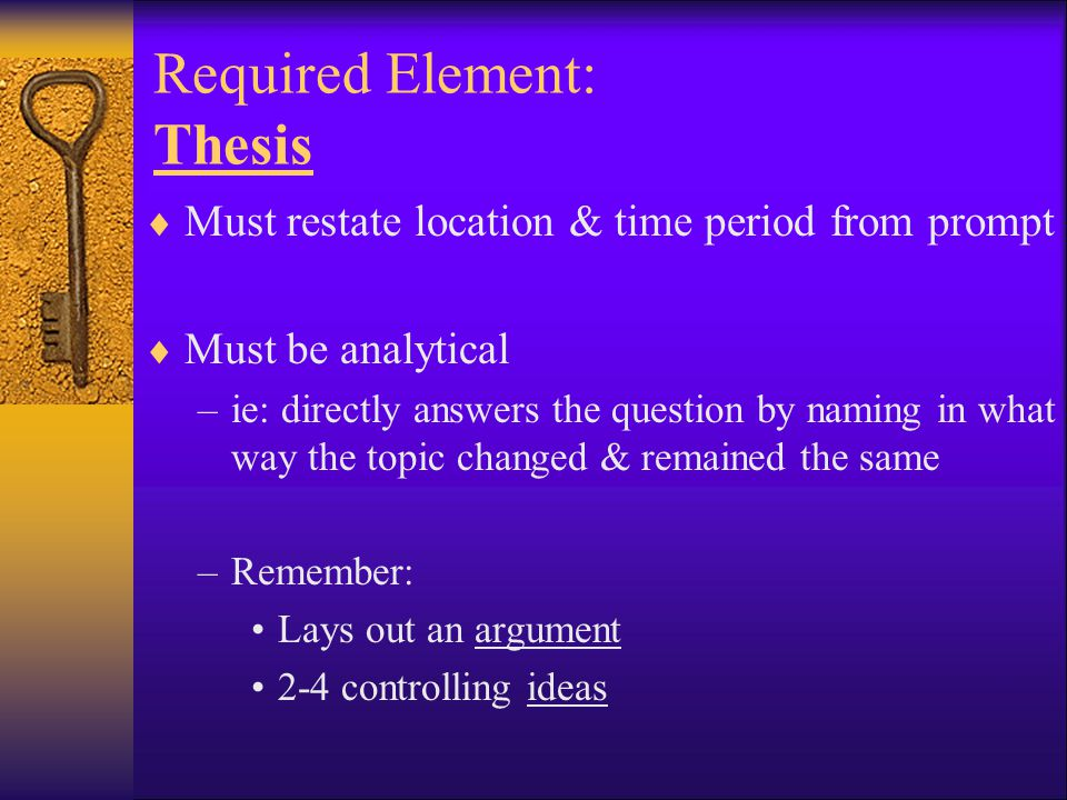 Required Element: Thesis