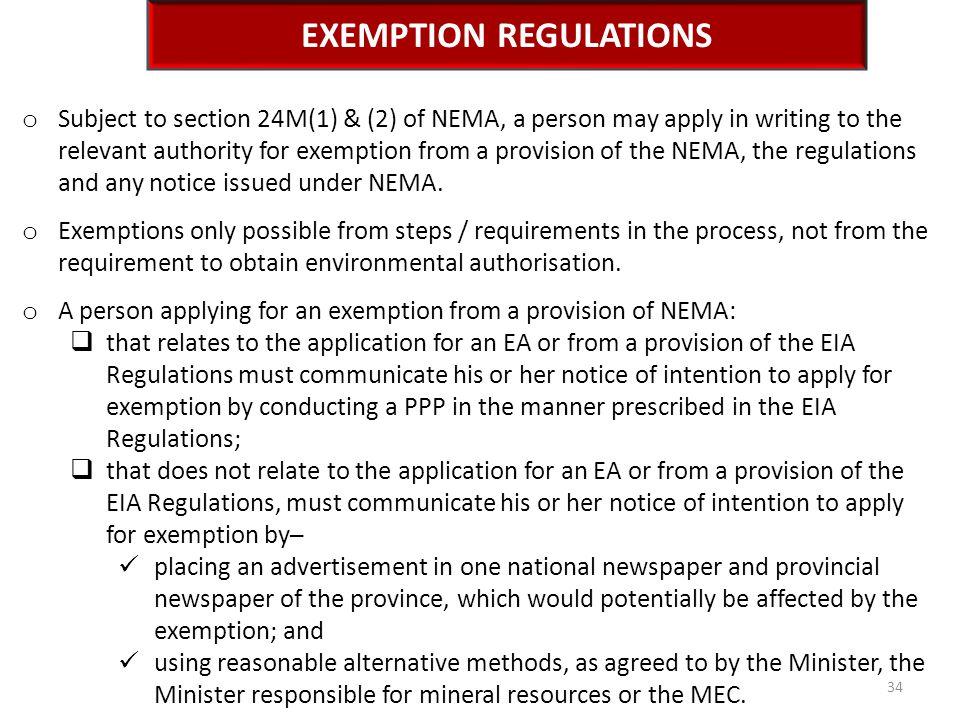Exemption Regulations