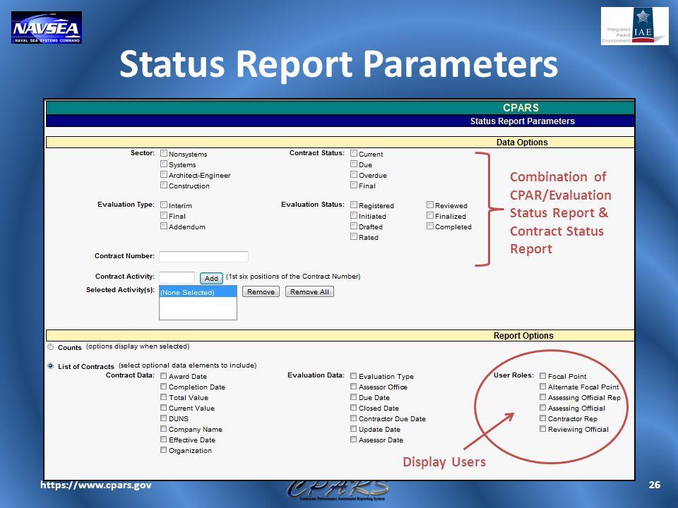 Status Report Parameters
