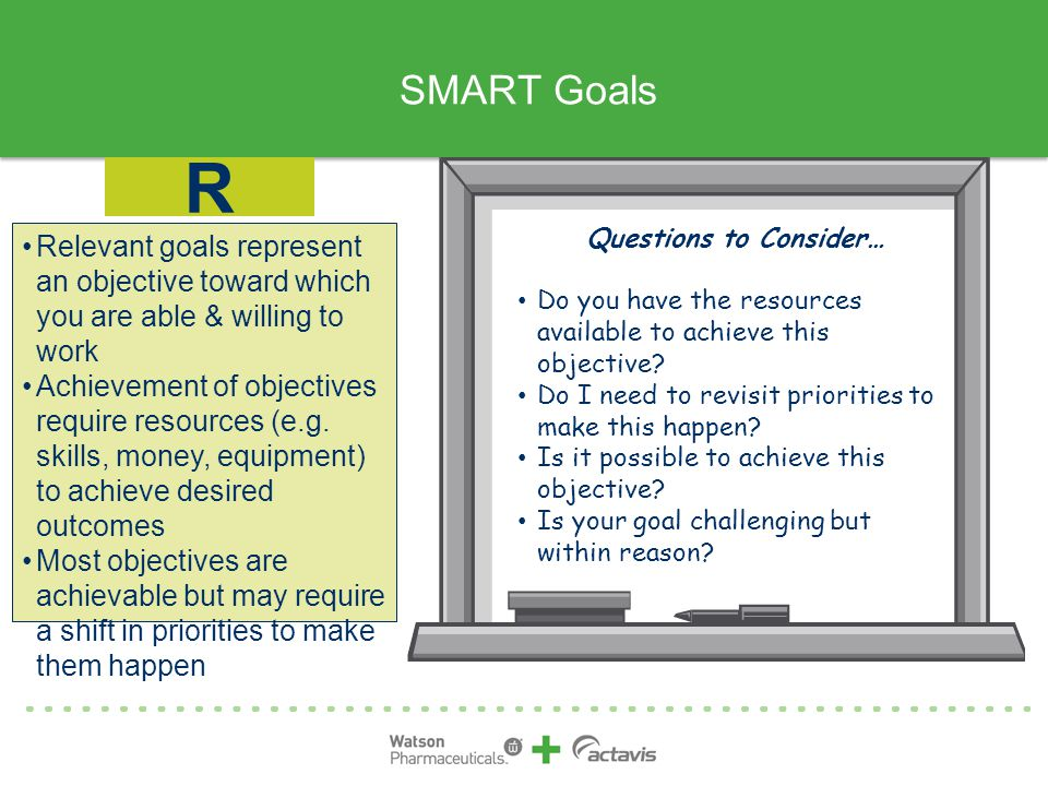 SMART Goals R. Questions to Consider… Do you have the resources available to achieve this objective