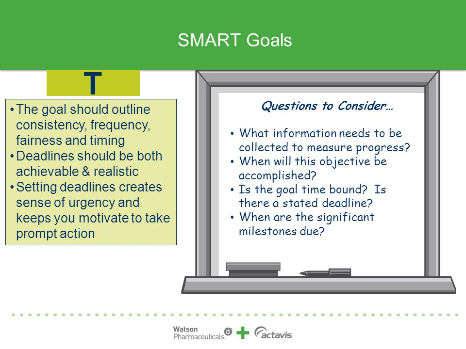 SMART Goals T. Questions to Consider… What information needs to be collected to measure progress