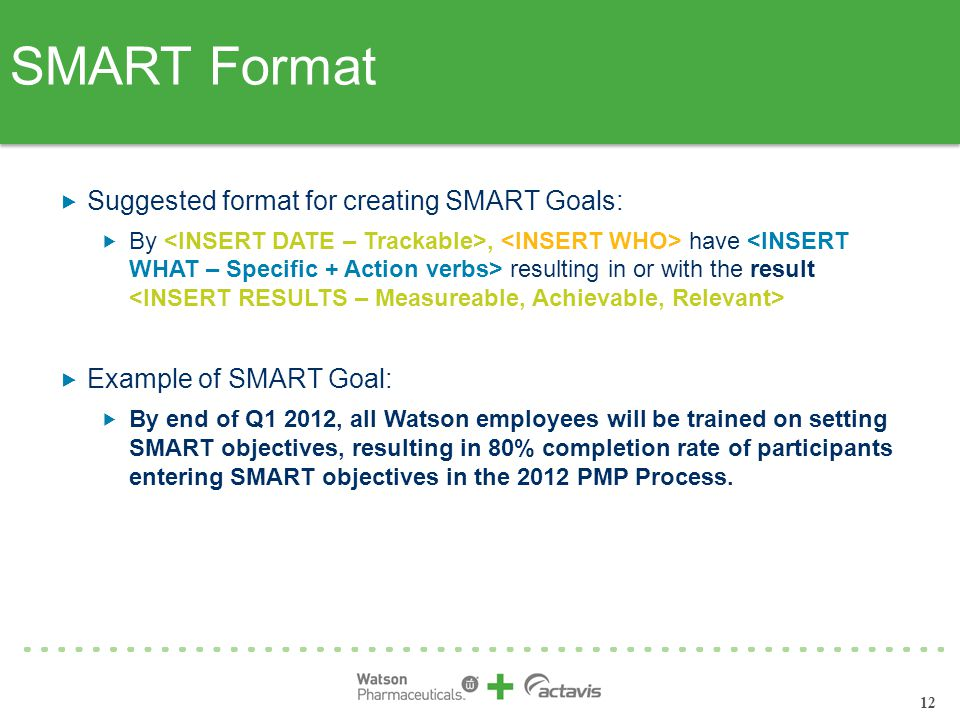 SMART Format Suggested format for creating SMART Goals: