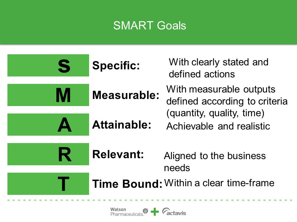 s M A R T SMART Goals Specific: Measurable: Attainable: Relevant: