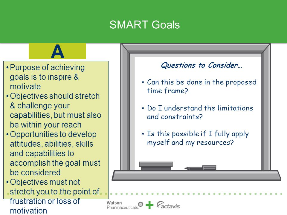 A SMART Goals Purpose of achieving goals is to inspire & motivate