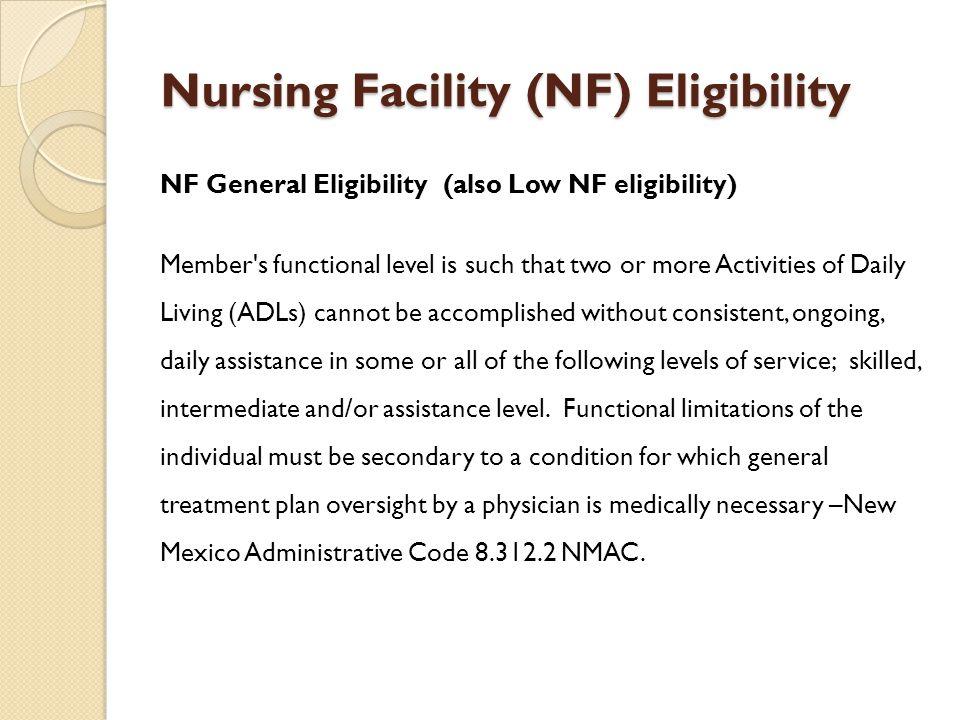 Nursing Facility (NF) Eligibility