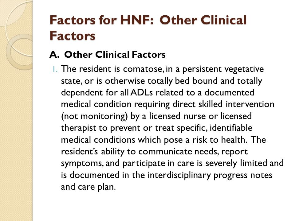 Factors for HNF: Other Clinical Factors