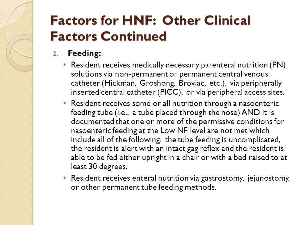 Factors for HNF: Other Clinical Factors Continued