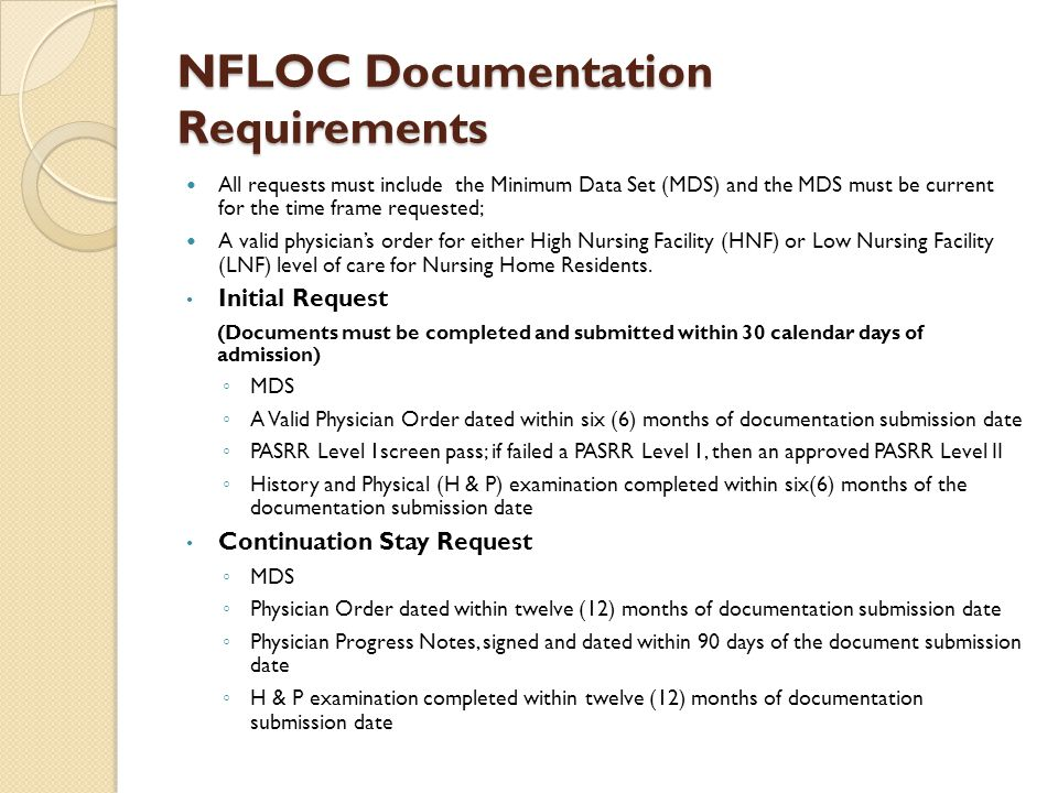 NFLOC Documentation Requirements