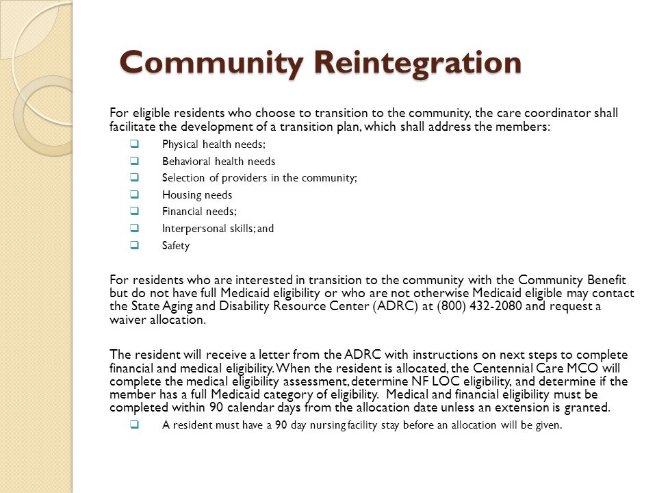 Community Reintegration