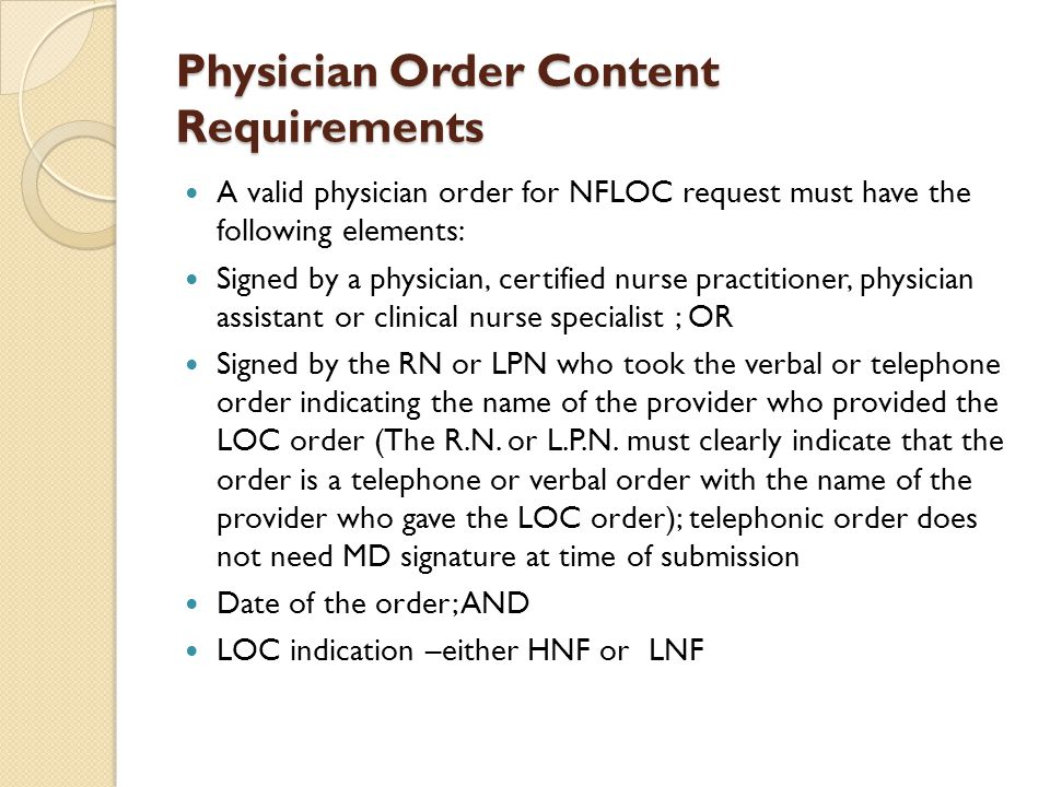 Physician Order Content Requirements