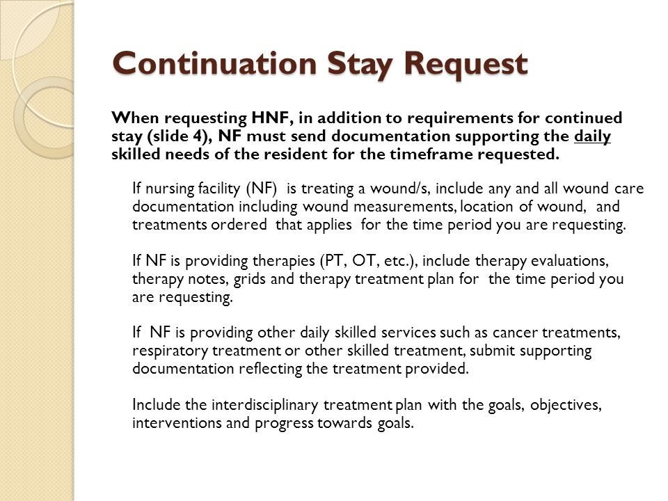 Continuation Stay Request