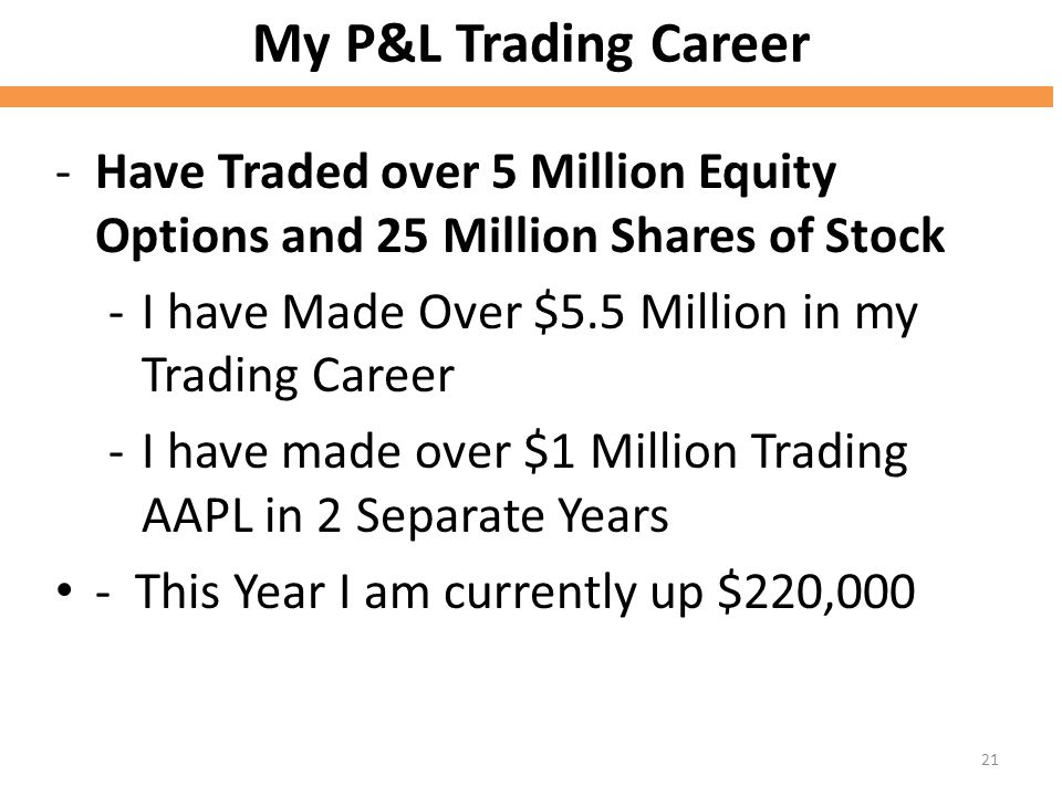 My P&L Trading Career Have Traded over 5 Million Equity Options and 25 Million Shares of Stock. I have Made Over $5.5 Million in my Trading Career.