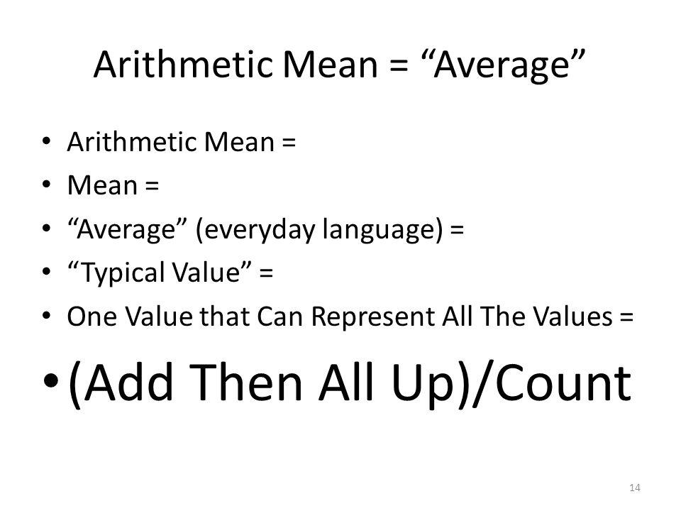 Arithmetic Mean = Average
