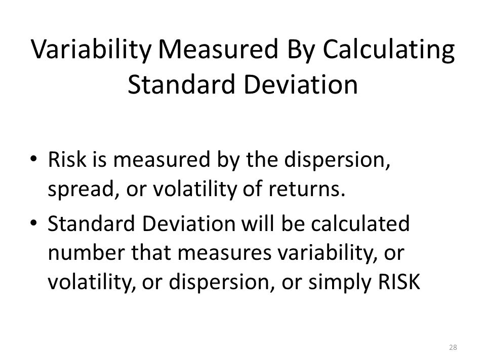 Variability Measured By Calculating Standard Deviation