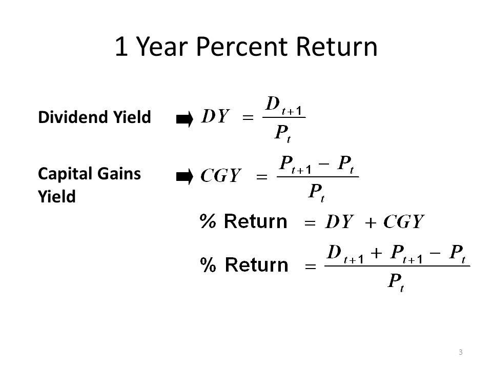1 Year Percent Return Dividend Yield Capital Gains Yield