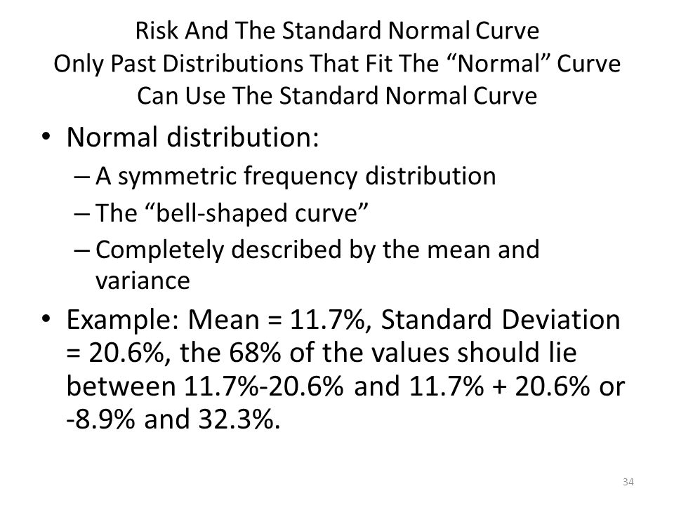 Risk And The Standard Normal Curve Only Past Distributions That Fit The Normal Curve Can Use The Standard Normal Curve