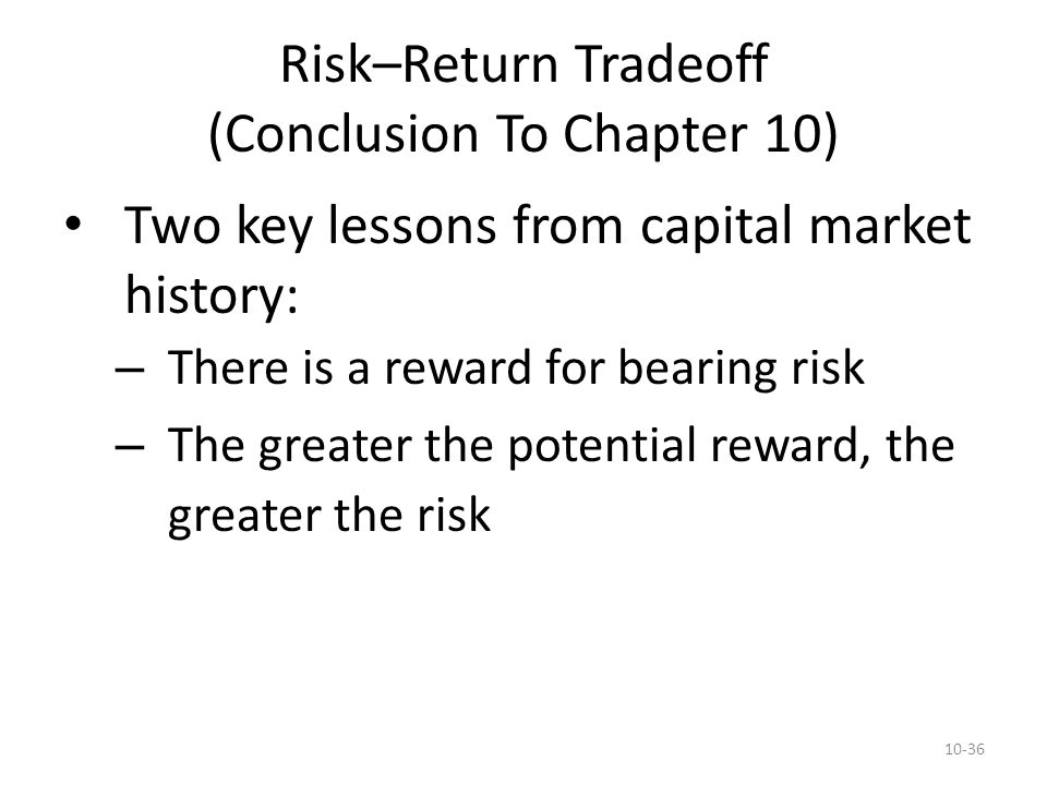 Risk–Return Tradeoff (Conclusion To Chapter 10)