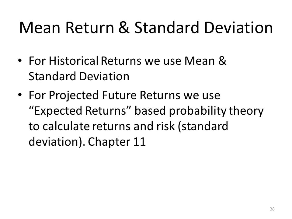 Mean Return & Standard Deviation