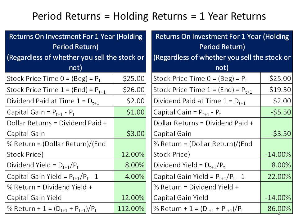 Period Returns = Holding Returns = 1 Year Returns