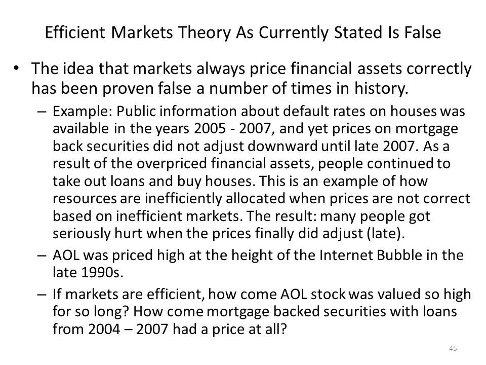 Efficient Markets Theory As Currently Stated Is False