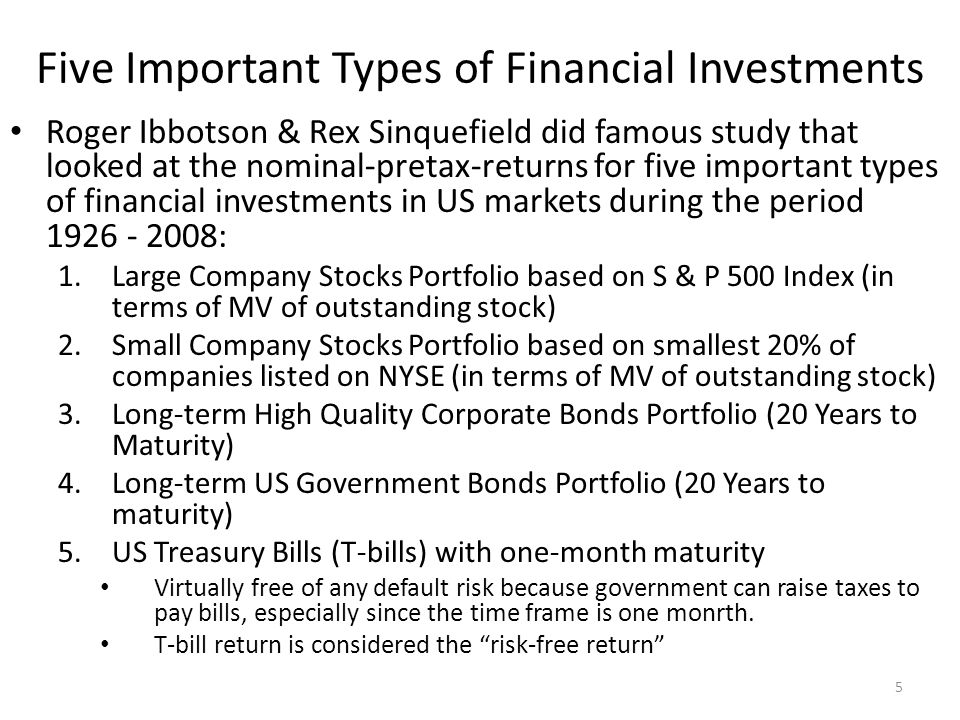 Five Important Types of Financial Investments