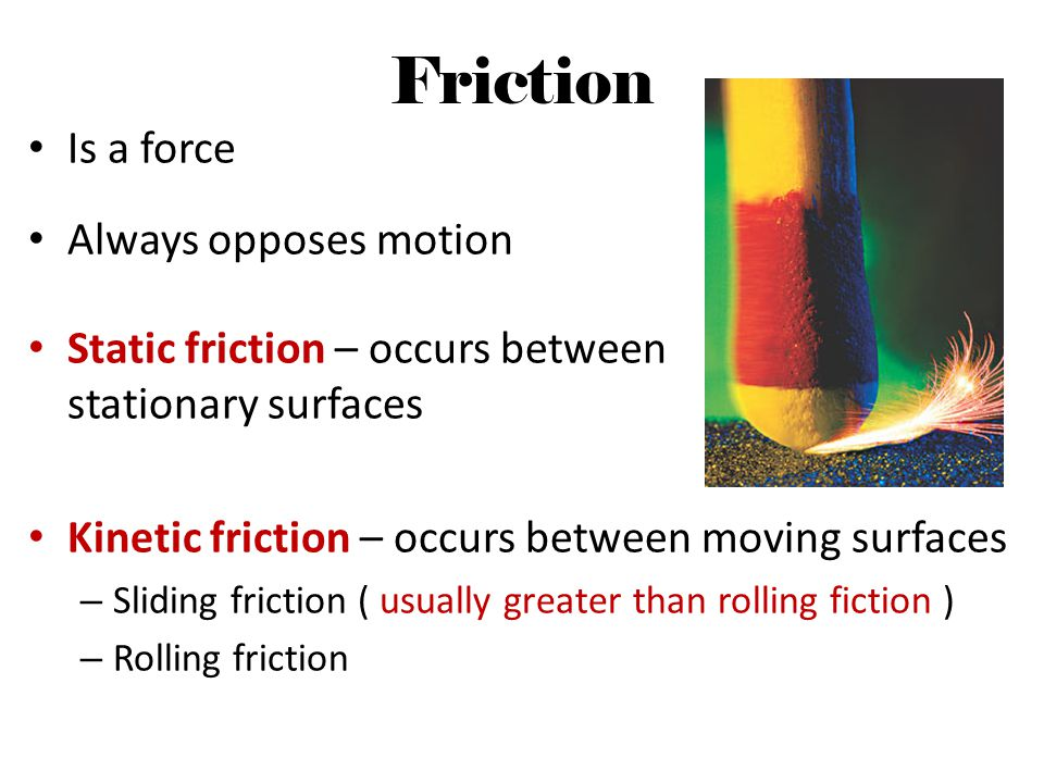 Friction Is a force Always opposes motion