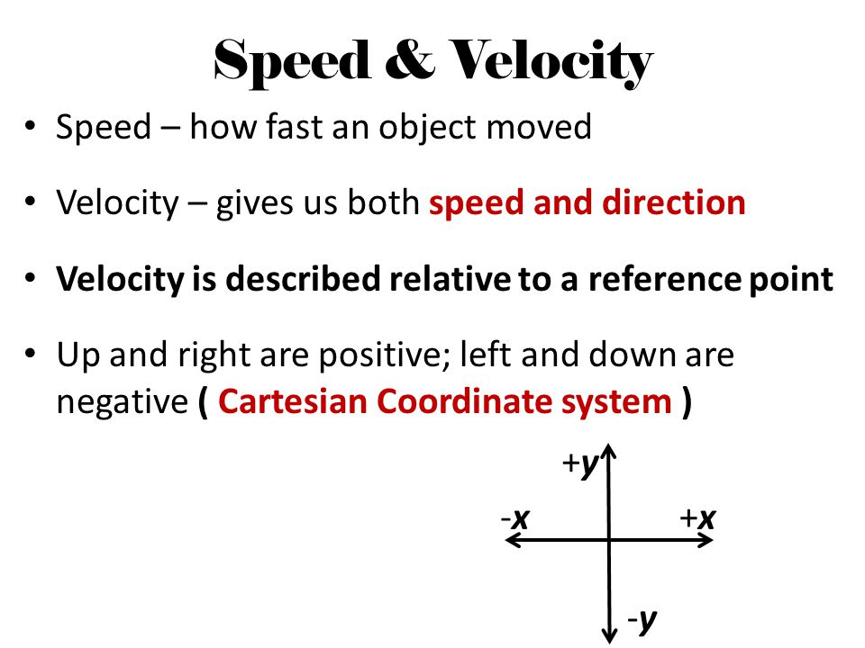 Speed & Velocity Speed – how fast an object moved