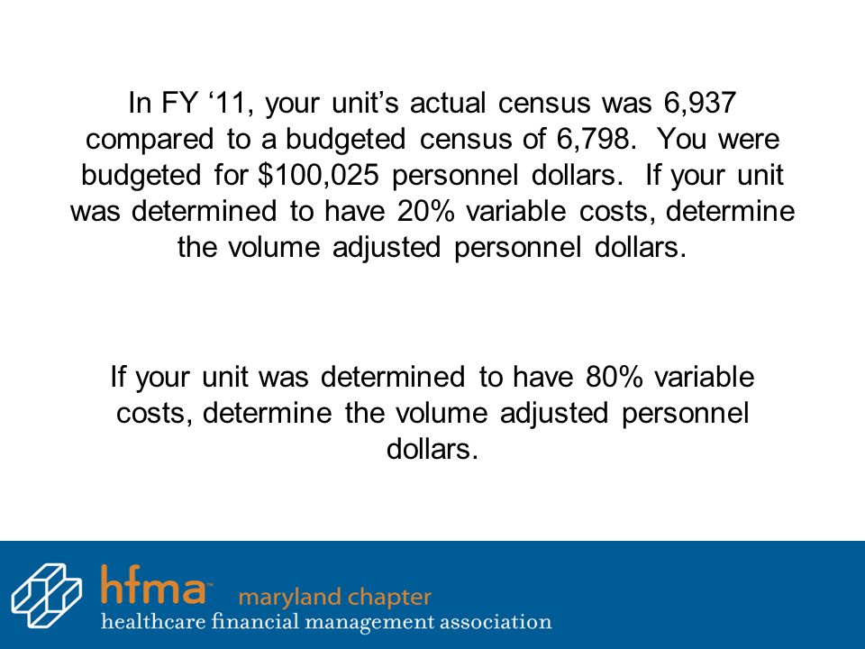 In FY '11, your unit's actual census was 6,937 compared to a budgeted census of 6,798. You were budgeted for $100,025 personnel dollars. If your unit was determined to have 20% variable costs, determine the volume adjusted personnel dollars.