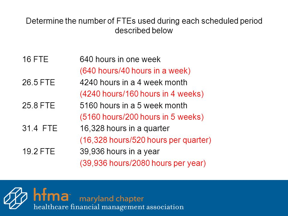 Determine the number of FTEs used during each scheduled period described below