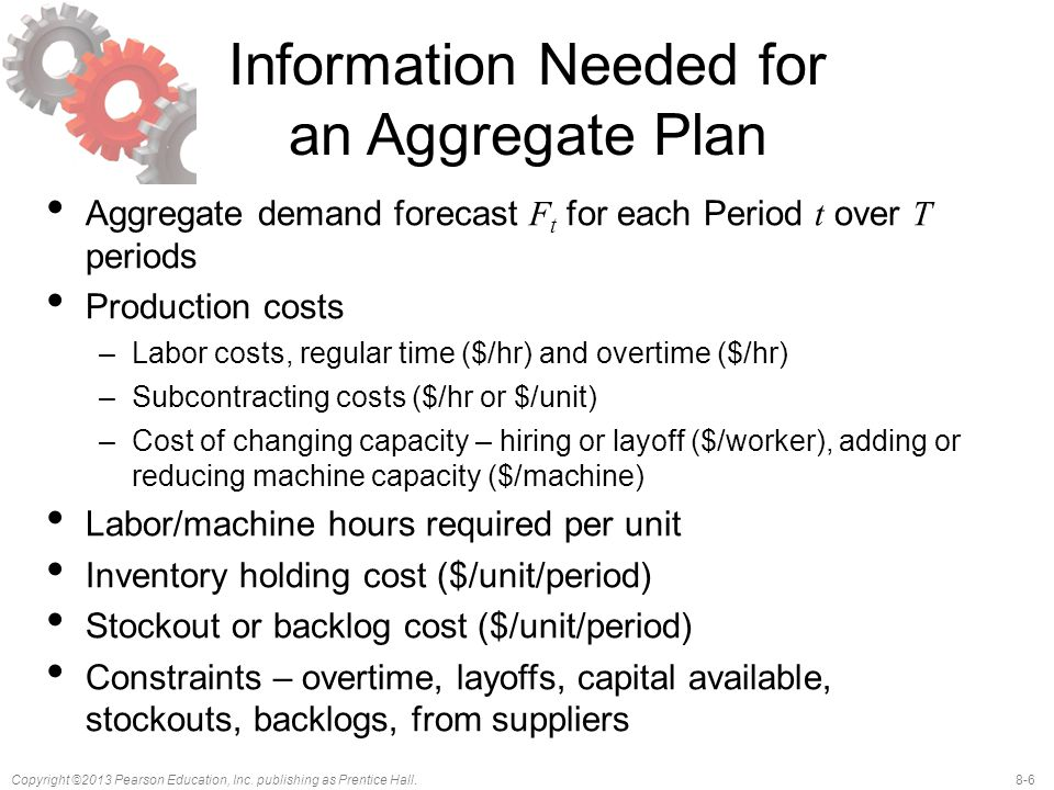 Information Needed for an Aggregate Plan