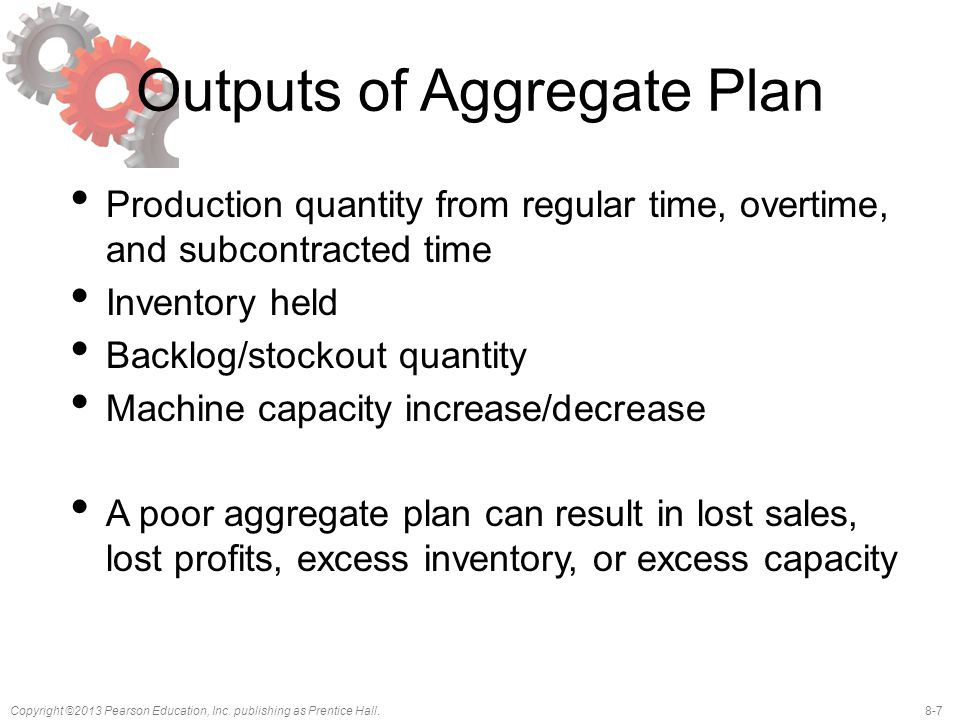 Outputs of Aggregate Plan