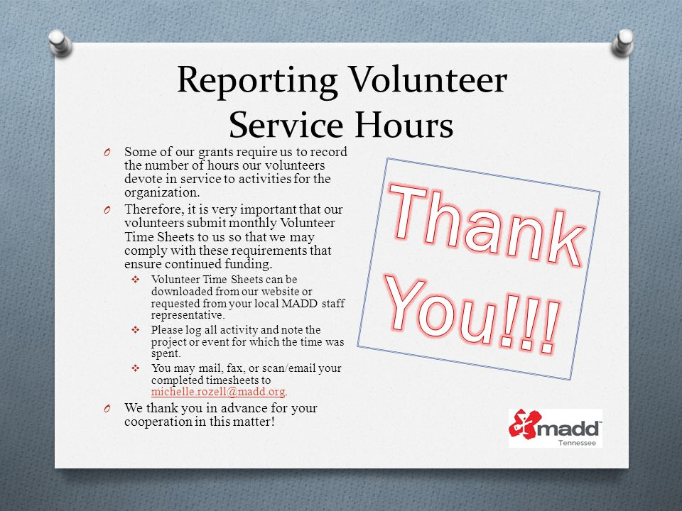 Reporting Volunteer Service Hours