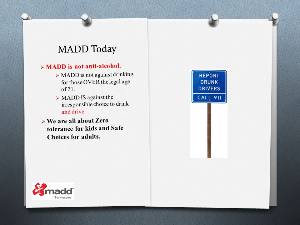 MADD Today MADD is not anti-alcohol.