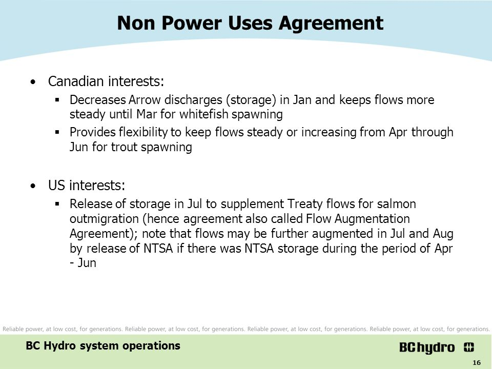 Non Power Uses Agreement
