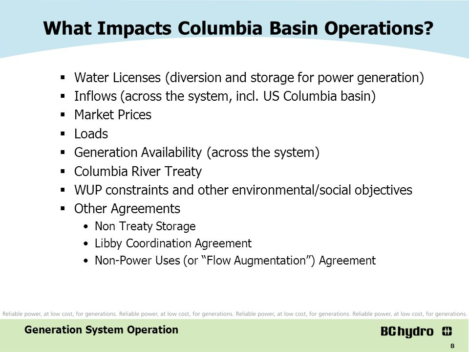 What Impacts Columbia Basin Operations