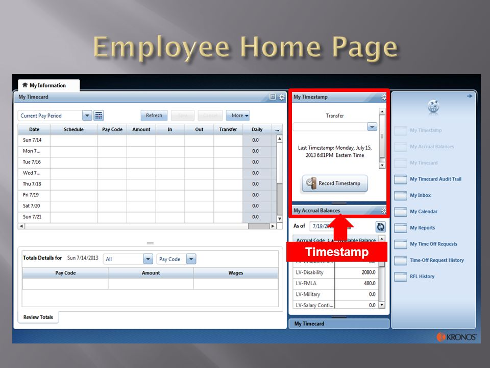 Employee Home Page Timestamp