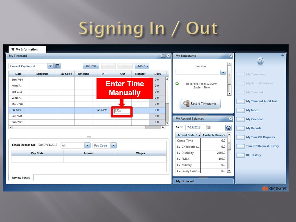 Signing In / Out Enter Time Manually