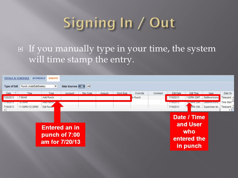 Signing In / Out If you manually type in your time, the system will time stamp the entry.