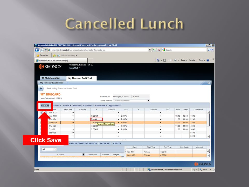 Cancelled Lunch Click Save
