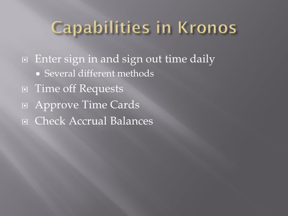 Capabilities in Kronos