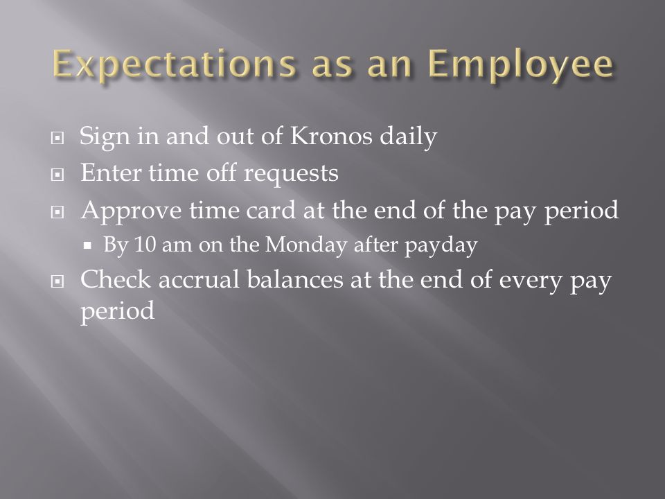 Expectations as an Employee