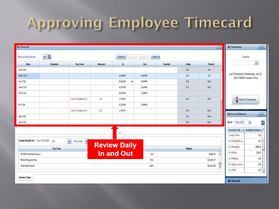 Approving Employee Timecard