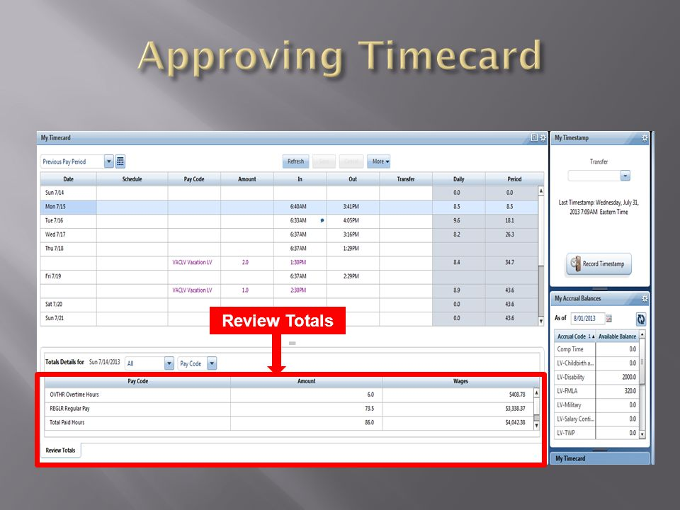 Approving Timecard Review Totals